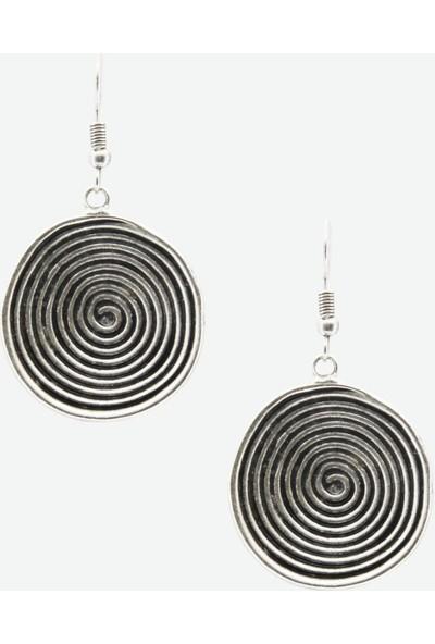 Labalaba Kadın Antik Gümüş Spiral Küpe