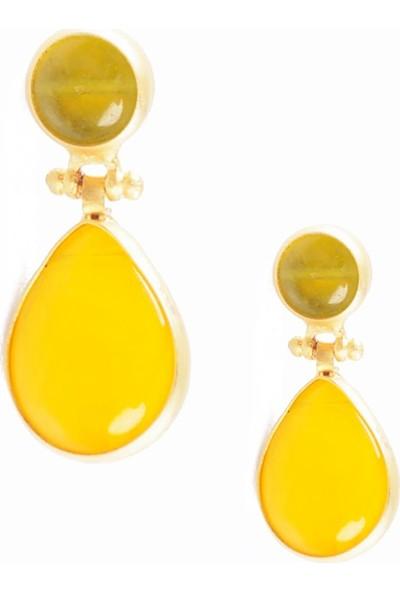 Labalaba Kadın Altın Renk Kaplama Sarı Doğaltaş Küpe