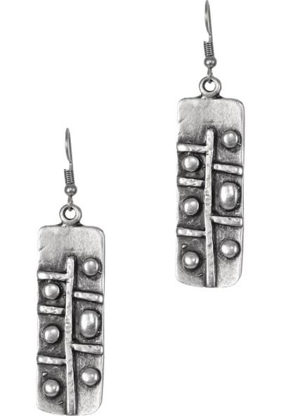 Labalaba Kadın Antik Gümüş Bohem Küpe