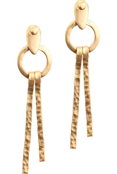 Labalaba Kadın Altın Renk Kaplama Çivili Çubuk Küpe