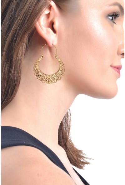 Labalaba Kadın Altın Renk Kaplama Telkari Koleksıyonu Sallantılı Küpe