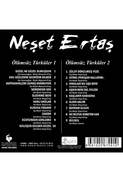 Neşet Ertaş – Ölümsüz Türküler 1 - Ölümsüz Türküler 2 2'li CD