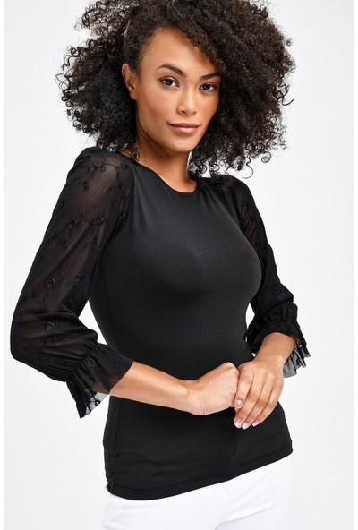 Jument Sıfır Yaka Nakışlı Tül Detaylı Kadın Bluz