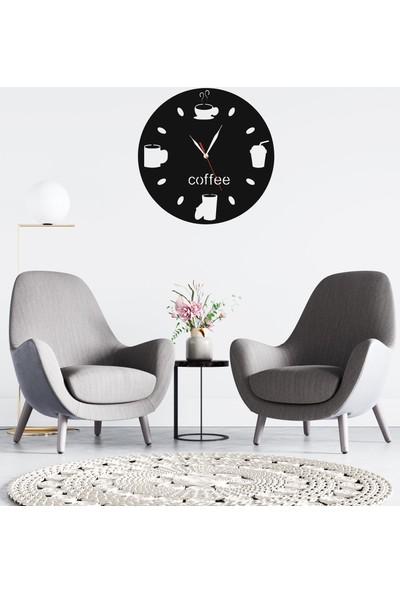 Dekoliya Desenli Coffee Modern Ahşap Duvar Saati