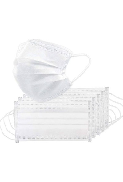 Lote 3 Katlı Telli Lastikli Beyaz Cerrahi Yüz Maskesi- 100 Adet