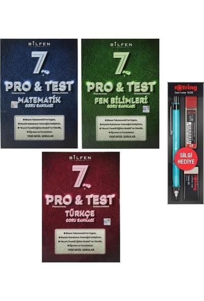 Bilfen Yayınları 7. Sınıf Pro Test Matematik Türkçe Fen Soru Bankası Seti 3 Kitap + 3'lü Kalem Seti
