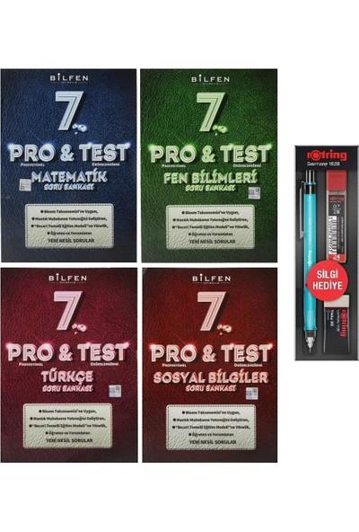 Bilfen Yayınları 7. Sınıf Pro Test Matematik Türkçe Fen Sosyal Soru Bankası Seti 4 Kitap + 3'lü Kalem Seti