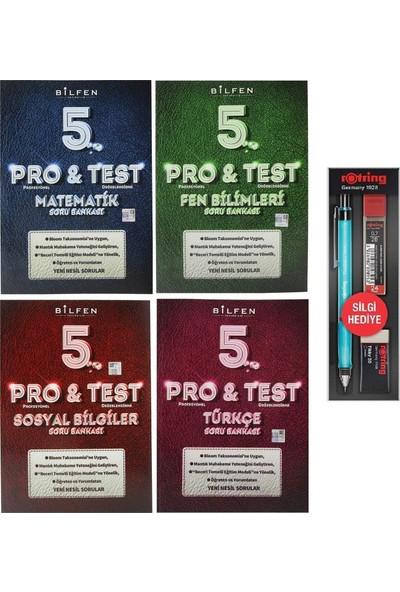 Bilfen Yayınları 5. Sınıf Pro Test Matematik Türkçe Fen Sosyal Soru Bankası Seti 4 Kitap + 3'lü Kalem Seti