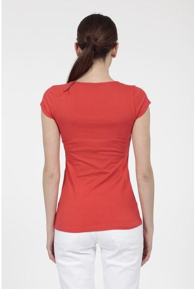 Vitrin Önü Taş Baskılı Pamuk Kumaş T Shirt
