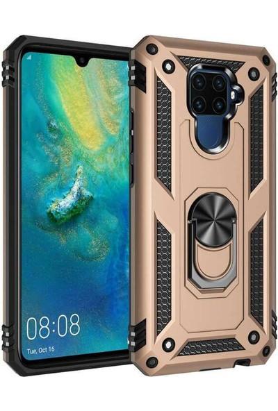 HerBütçeye Huawei Mate 30 Lite Çift Katmanlı Yüzüklü Manyetik Tam Koruma Vega Kılıf Gold