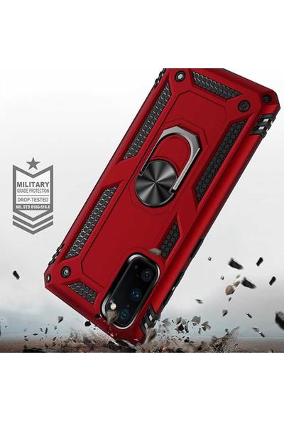 HerBütçeye Huawei Y7 2019 Çift Katmanlı Yüzüklü Manyetik Tam Koruma Vega Kılıf Kırmızı