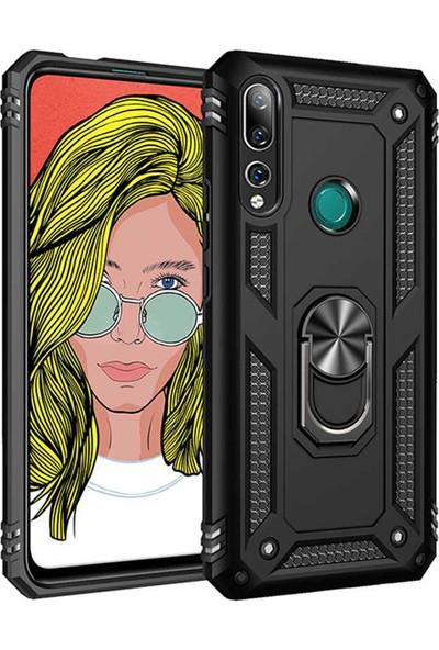 HerBütçeye Huawei Y9 Prime 2019 Çift Katmanlı Yüzüklü Manyetik Tam Koruma Vega Kılıf Siyah