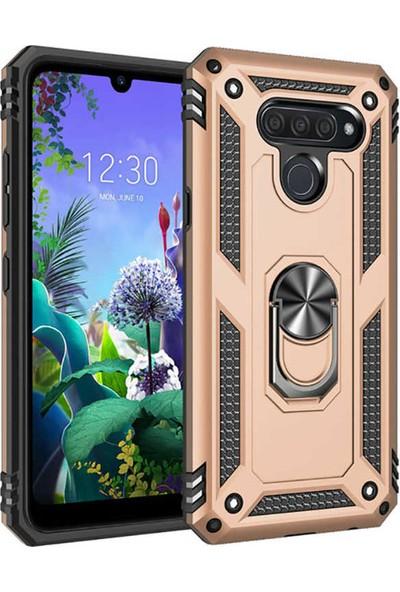 HerBütçeye LG Q60 Çift Katmanlı Yüzüklü Manyetik Tam Koruma Vega Kılıf Gold
