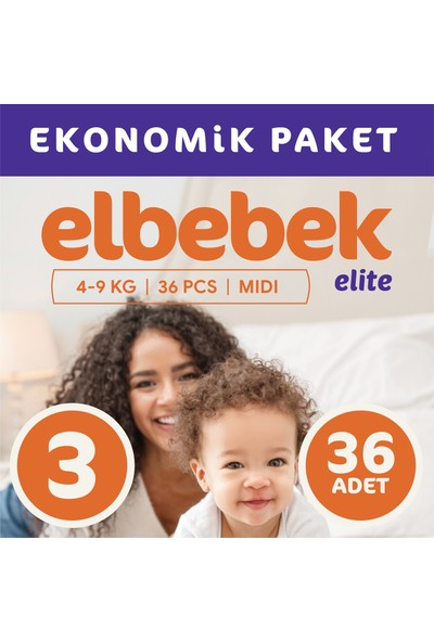 Elbebek Elite Bebek Bezi 3 Numara Midi 36 Adet