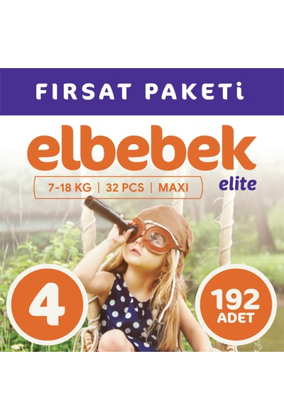 Elbebek Elite Bebek Bezi 4 Numara Maxi 192 Adet