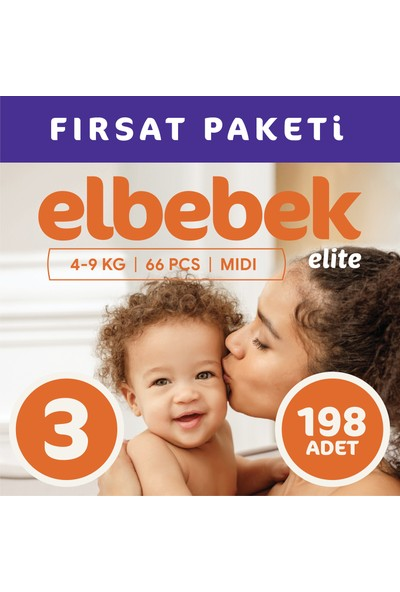 Elbebek Elite Bebek Bezi 3 Numara Midi 198 Adet