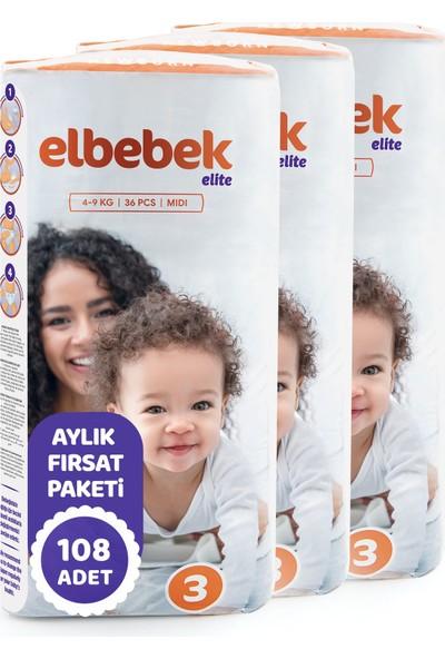 Elbebek Elite Bebek Bezi 3 Numara Midi 108 Adet