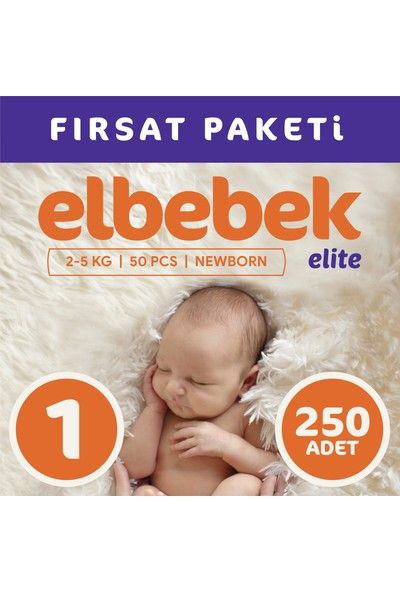 Elbebek Elite Bebek Bezi 1 Numara Yenidoğan 250 Adet