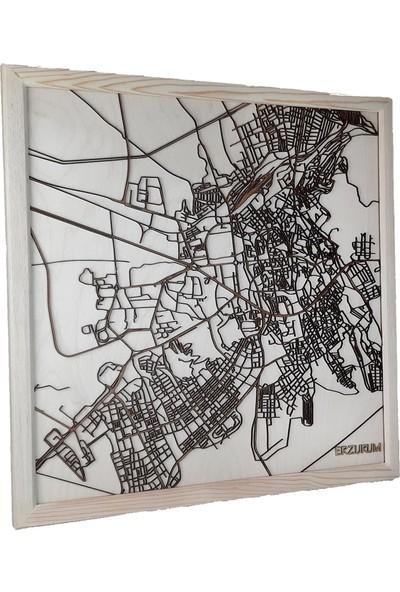 Zmap Design Özel Tasarım Erzurum Ahşap Şehir Haritası