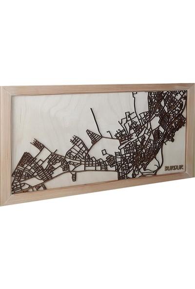 Zmap Design Özel Tasarım Burdur Ahşap Şehir Haritası
