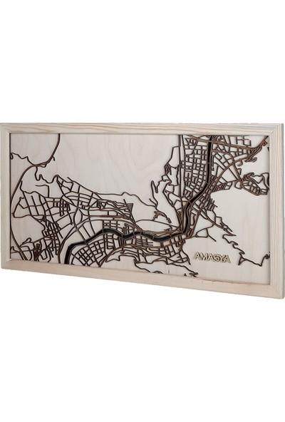 Zmap Design Özel Tasarım Amasya Ahşap Şehir Haritası