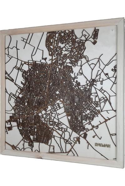 Zmap Design Özel Tasarım Batman Ahşap Şehir Haritası