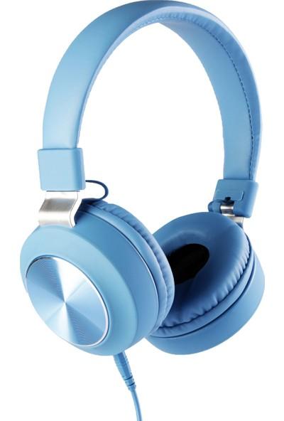 MF Product Acoustic 0102 Mikrofonlu Kablolu Kulak Üstü Kulaklık Mavi