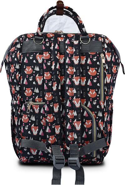 The Kangaroo Bag Luxury Tilki Desenli Anne Bebek Bakım Sırt Çantası