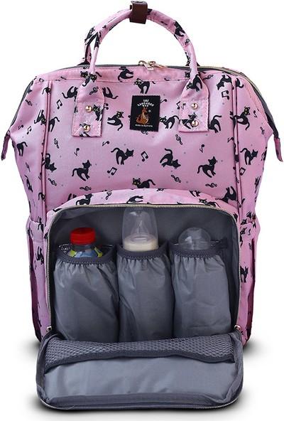 The Kangaroo Bag Luxury Kedi Desenli Anne Bebek Bakım Sırt Çantası