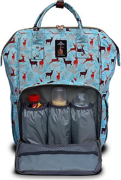 The Kangaroo Bag Luxury Geyik Desenli Anne Bebek Bakım Sırt Çantası