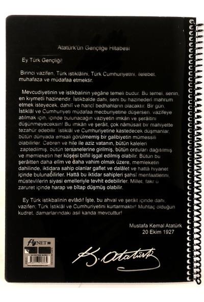 Fly Color Atatürk Temalı Spiralli A4 Defter 96 Yaprak Kareli Defter 4'lü