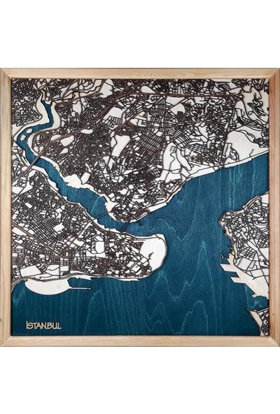Zmap Design Özel Tasarım Istanbul Ahşap Şehir Haritası