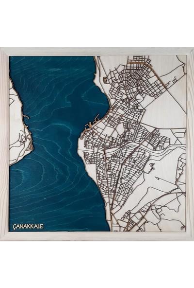 Zmap Design Özel Tasarım Çanakkale Ahşap Şehir Haritası