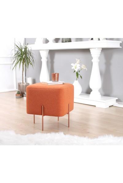 Lorence Home Copper Puf Kare Turuncu