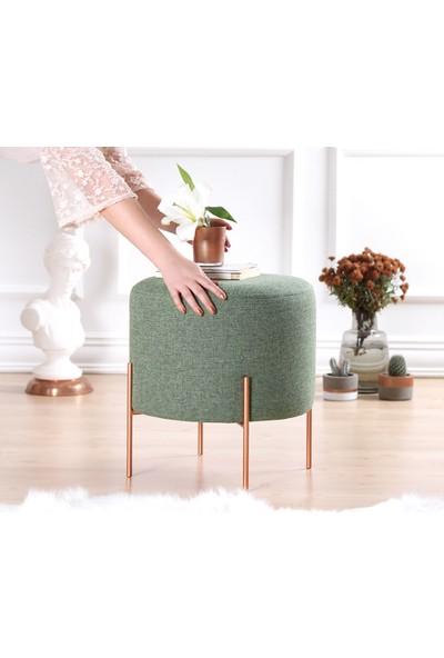 Lorence Home Copper Puf Yuvarlak Yeşil