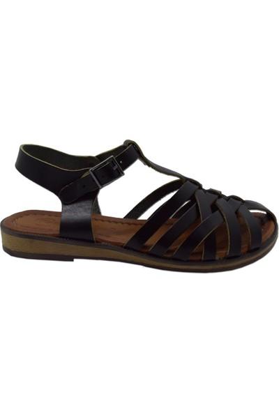 Charmia Kadın Deri Günlük Sandalet Siyah 3166