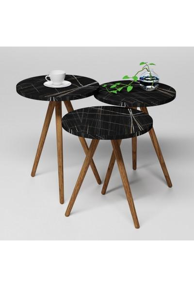 Albero Mobilya Siyah Yuvarlak Mermer Desenli 3lü Zigon Sehpa