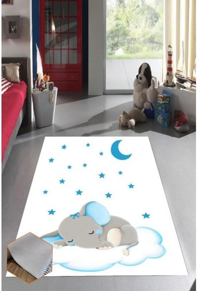 Belemir K402 Fil Çocuk Mavi Dekoratif Yıkanabilir Halı