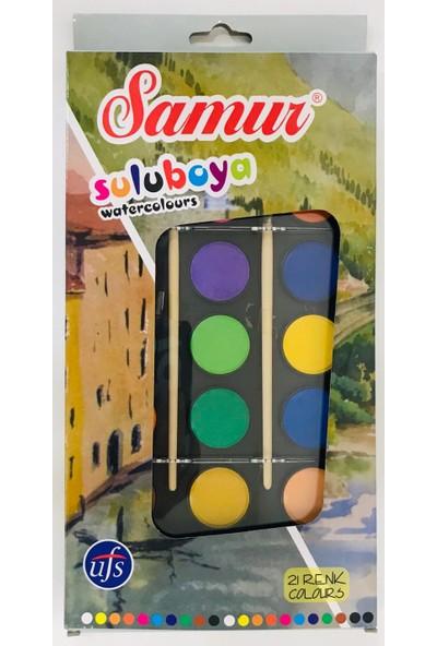 Samur Büyük Boy Sulu Boya 21 Renk + Fırça 2'li