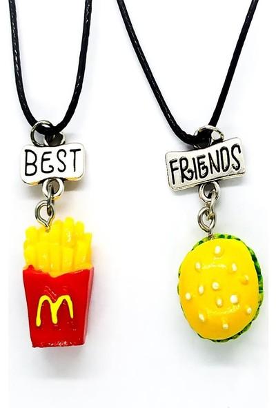 AlpCollection Hamburger Patates Best Friends Bff 2'li Ipli Kolye