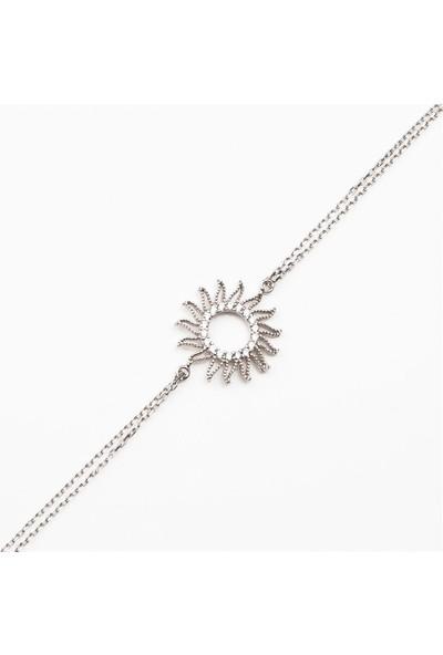 Afrodit Silver Güneş Gümüş Kadın Bileklik