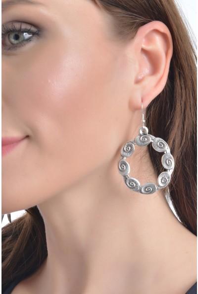 Labalaba Kadın Antik Gümüş Kaplama Dairesel Bohem Küpe