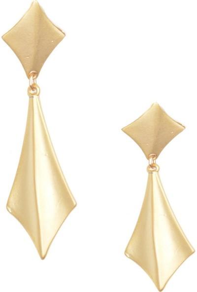 Labalaba Kadın Altın Renk Kaplama Geometrik Küpe