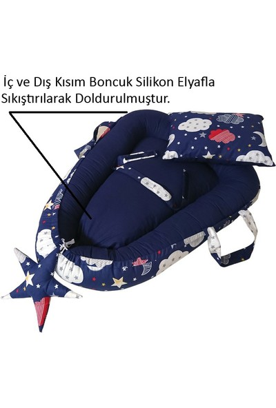 Altev Gökyüzü Desenli Babynest Bebek Uyku Yatağı + Yastığı
