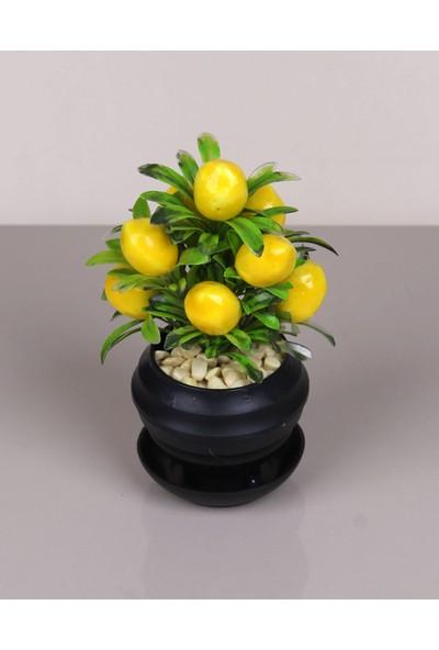 Kardelen Yapay Çiçek Desenli Siyah Saksıda Limon Ağacı