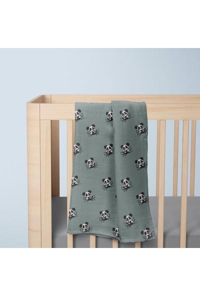 Poema & Rosa 3'lü Kutu Müslin Örtü 110 cm x 80 cm - Hug Panda Yeşil