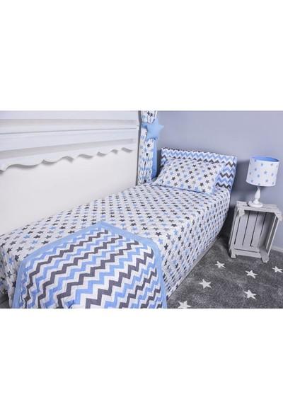 Odeon Çocuk Odası Kapitoneli Yatak Örtüsü Mavi Yıldızlı Zigzaglı