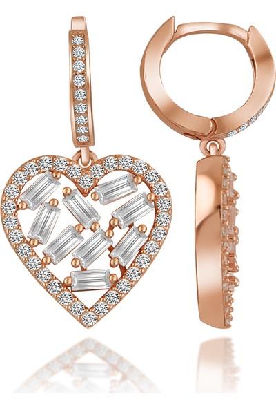 Else Silver Baget Taşlı Kalp Gümüş Küpe