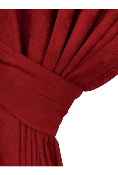 Belnido Home Kırmızı Hazır New Soft Fon Perde 100x270 Tek Kanat