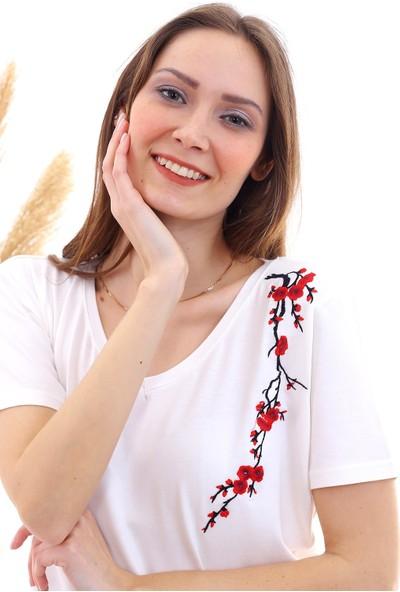 Cotton Mood 20050526 Süprem Omuzu Çiçek Nakışlı Kısa Kol Bluz Ekru